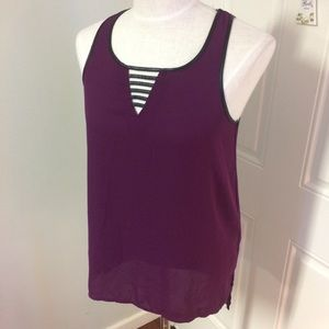 Purple black leather blouse top caged strappy back